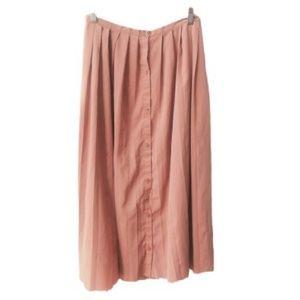 LC Lauren Conrad Pleated Button Front Midi Skirt